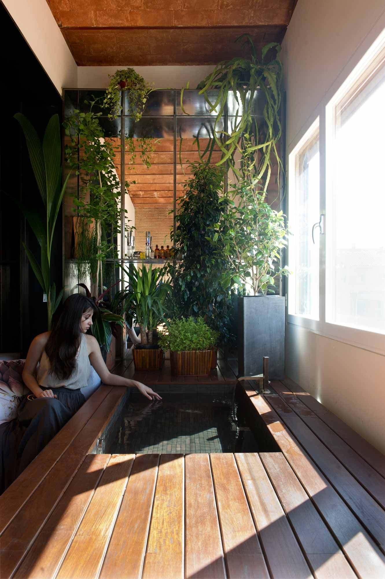 Plants are a visual barrier to the living space seen through the alcove window.