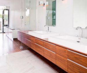Wood accents for bathroom vanity