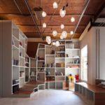 barcelona bookshelves and seating