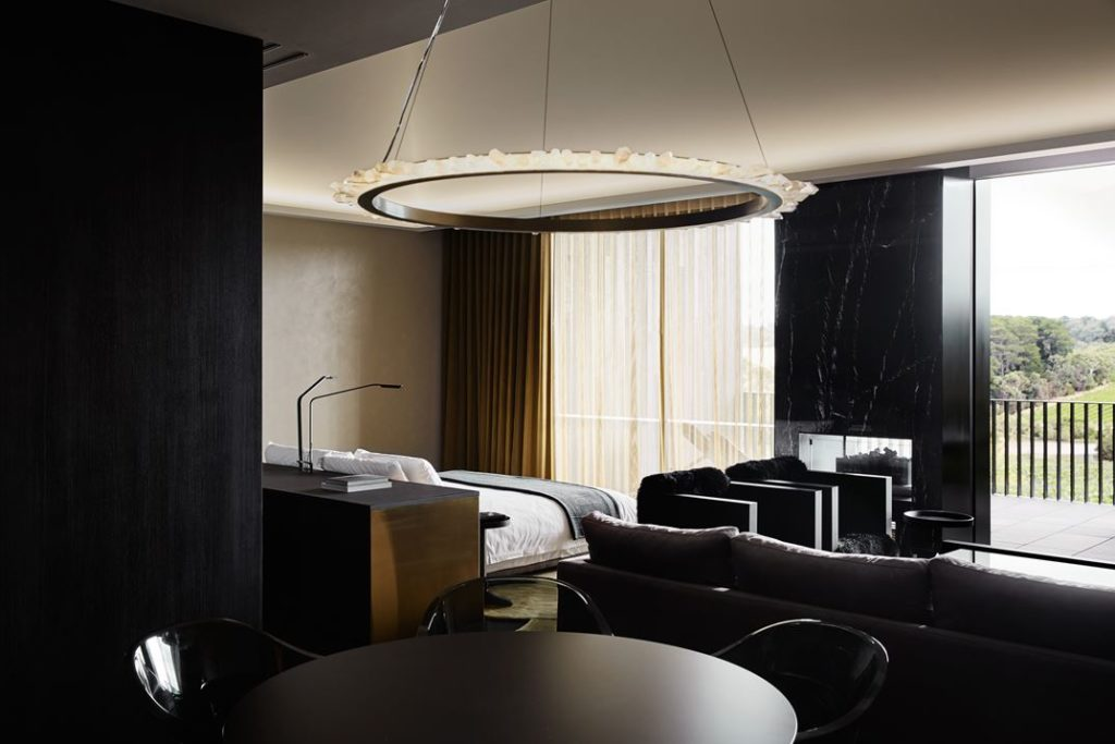 All parts of the suite can see out the floor-to-ceiling windows.