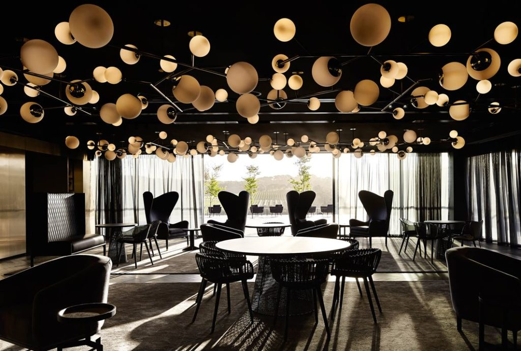 The spectacular ceiling is one of the avant-garde art pieces that grace the hotel.