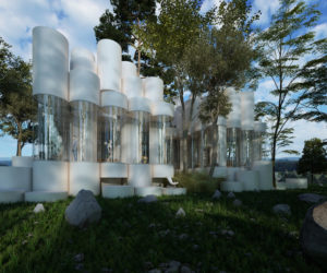 A House Made Of Cylinders Sits Among The Trees