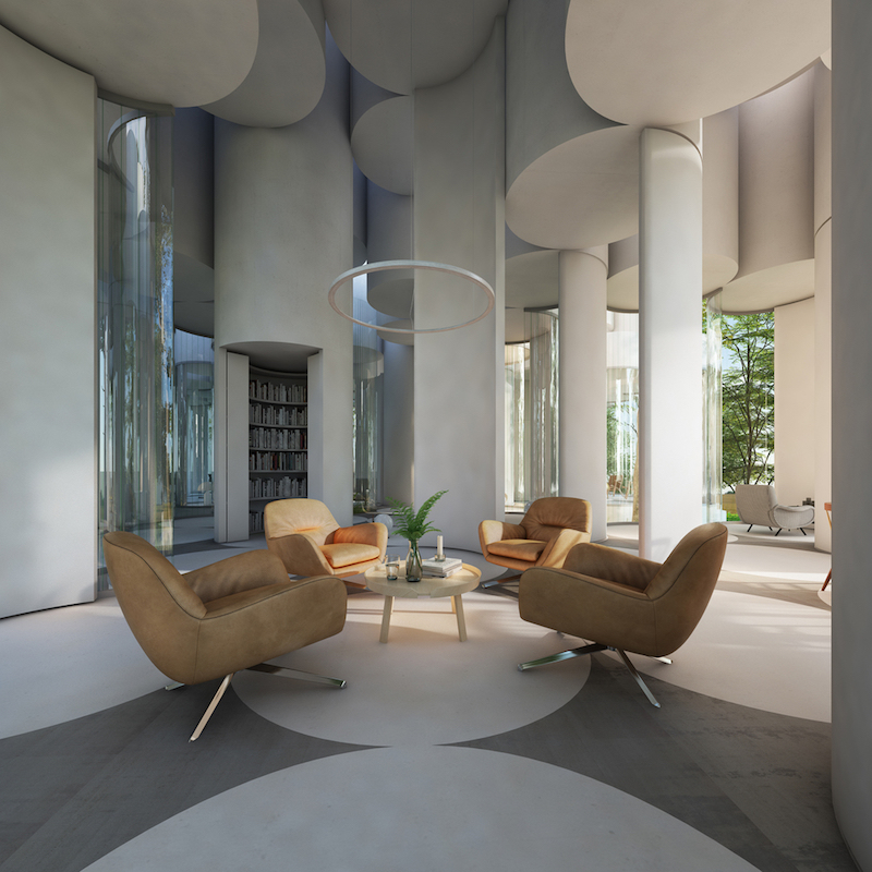 The interior has a sculptural and unusual structure, being defined by lots of curves