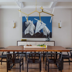 Artistic Designs For Living Dining area with Blue Wall Art