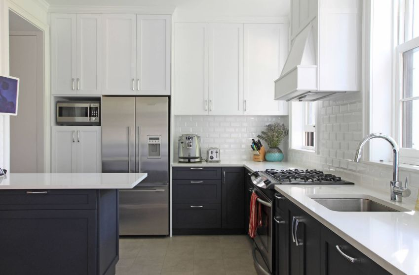 Even if they're white, beveled subway tiles still stand out and add dimension to the decor