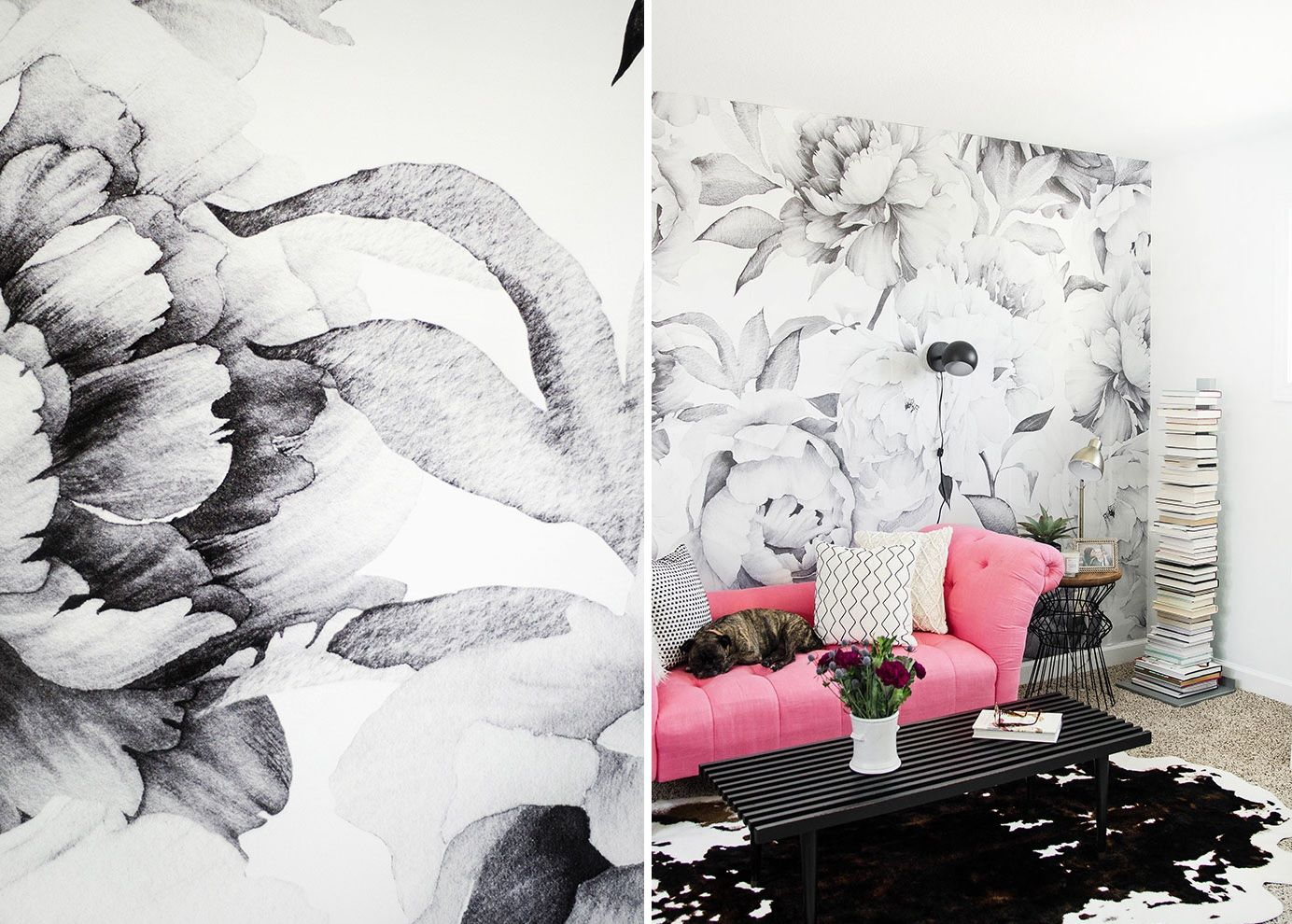 Black and white floral wallpaper for living room