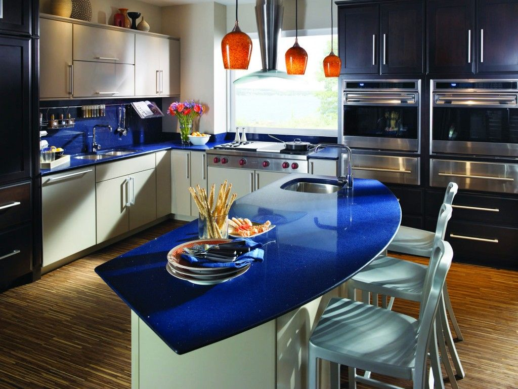 Bold Blue Quartz Countertops Design