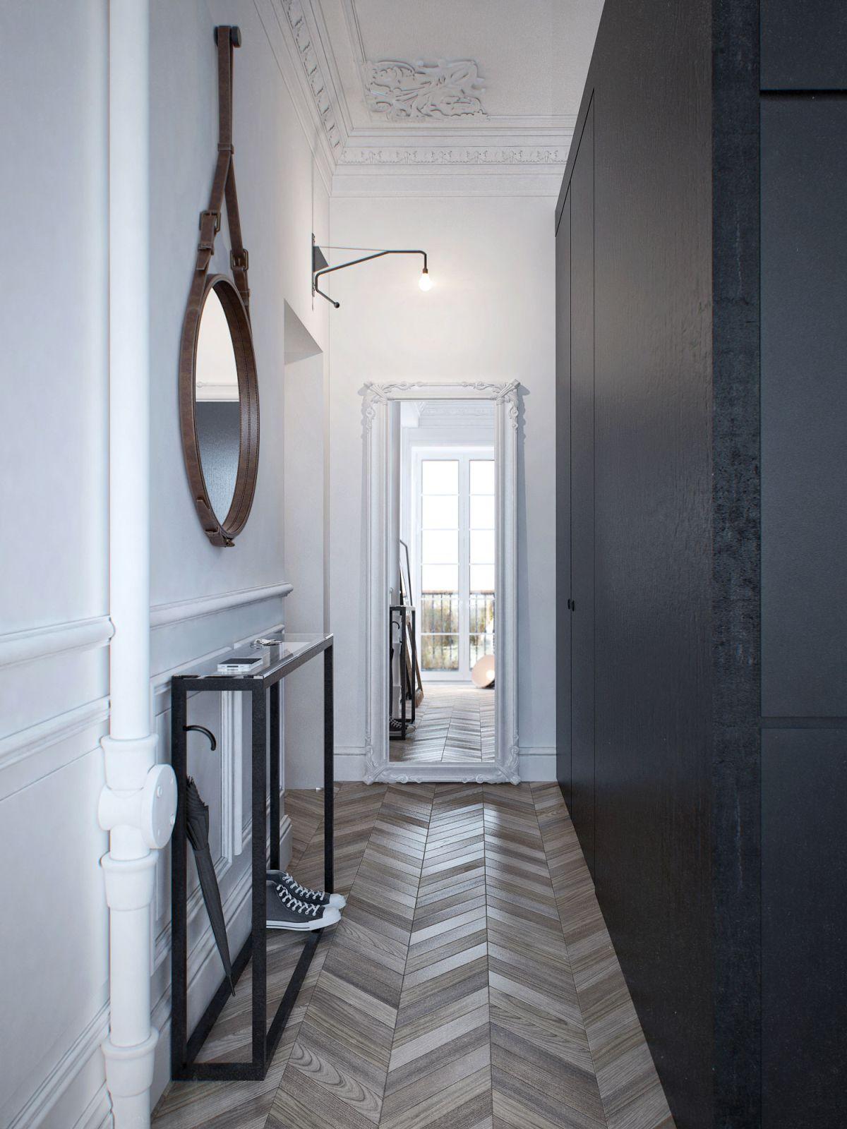 Chevron wood tile for foyer