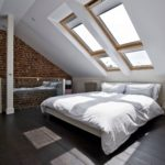 Contemporary attic master bedroom skylights
