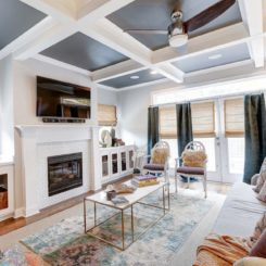 Eclectic living room painted coffered ceiling