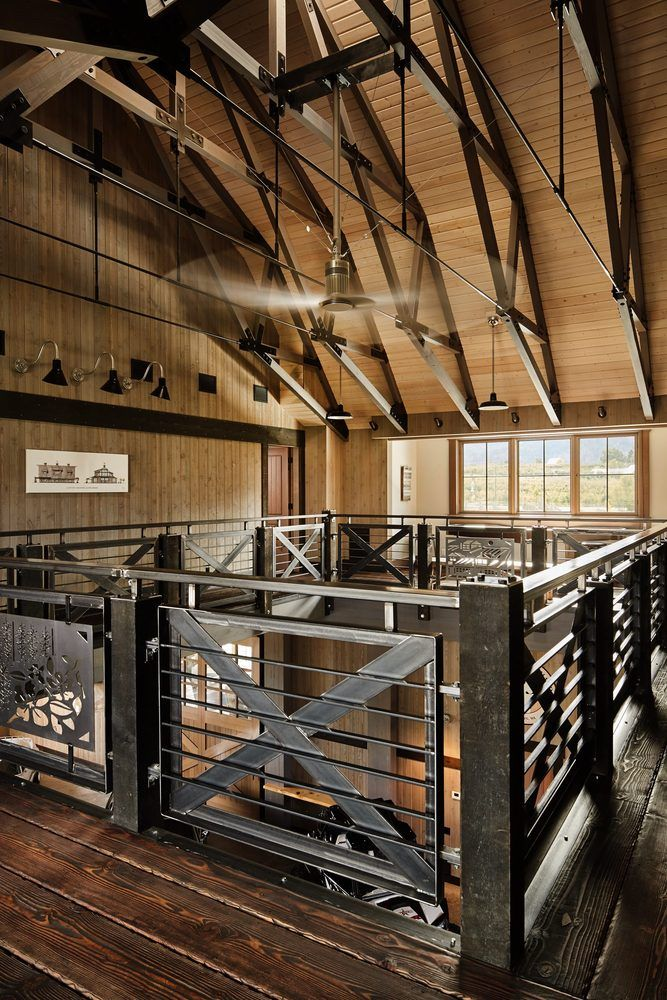 Gate style railings maintain the barn-like atmosphere.