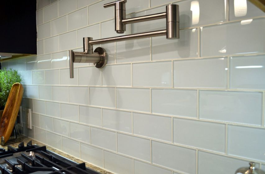 Glass subway tiles, even the classical white ones, look refined and sophisticated