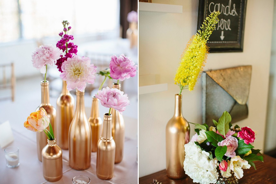 Gold Painted Bottles floral arrangement