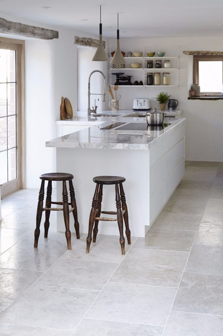 kitchen floor tiles. 15. Brushed Limestone Kitchen Floor Tiles T