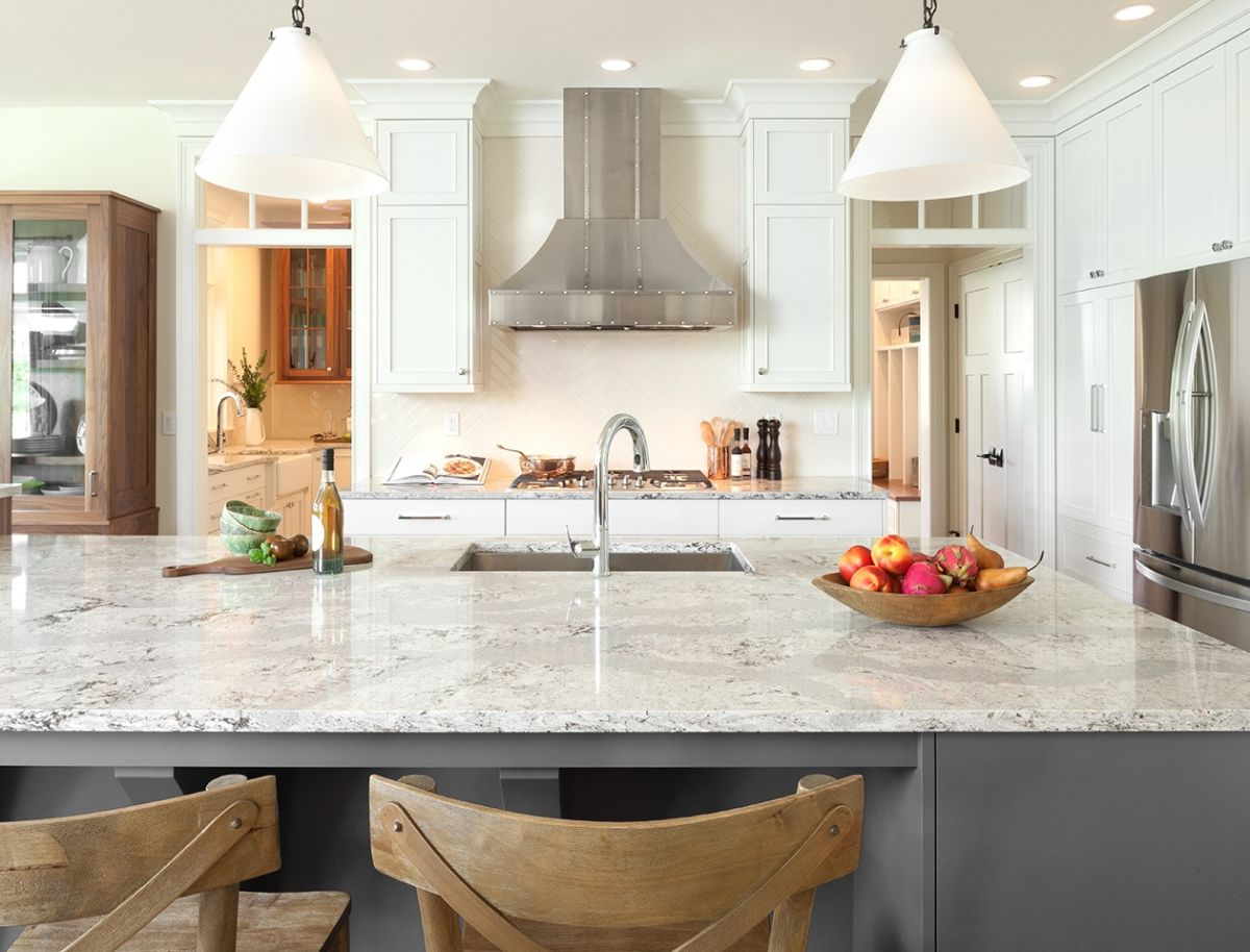 Grey quartz kitchen countertop design