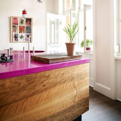 Hot pink quartz countertops