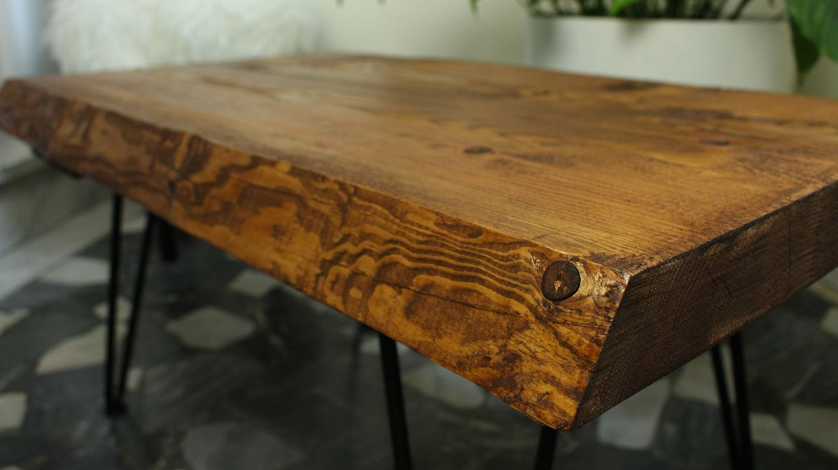 rustic coffee table with hairpin legs shumatsu distortion
