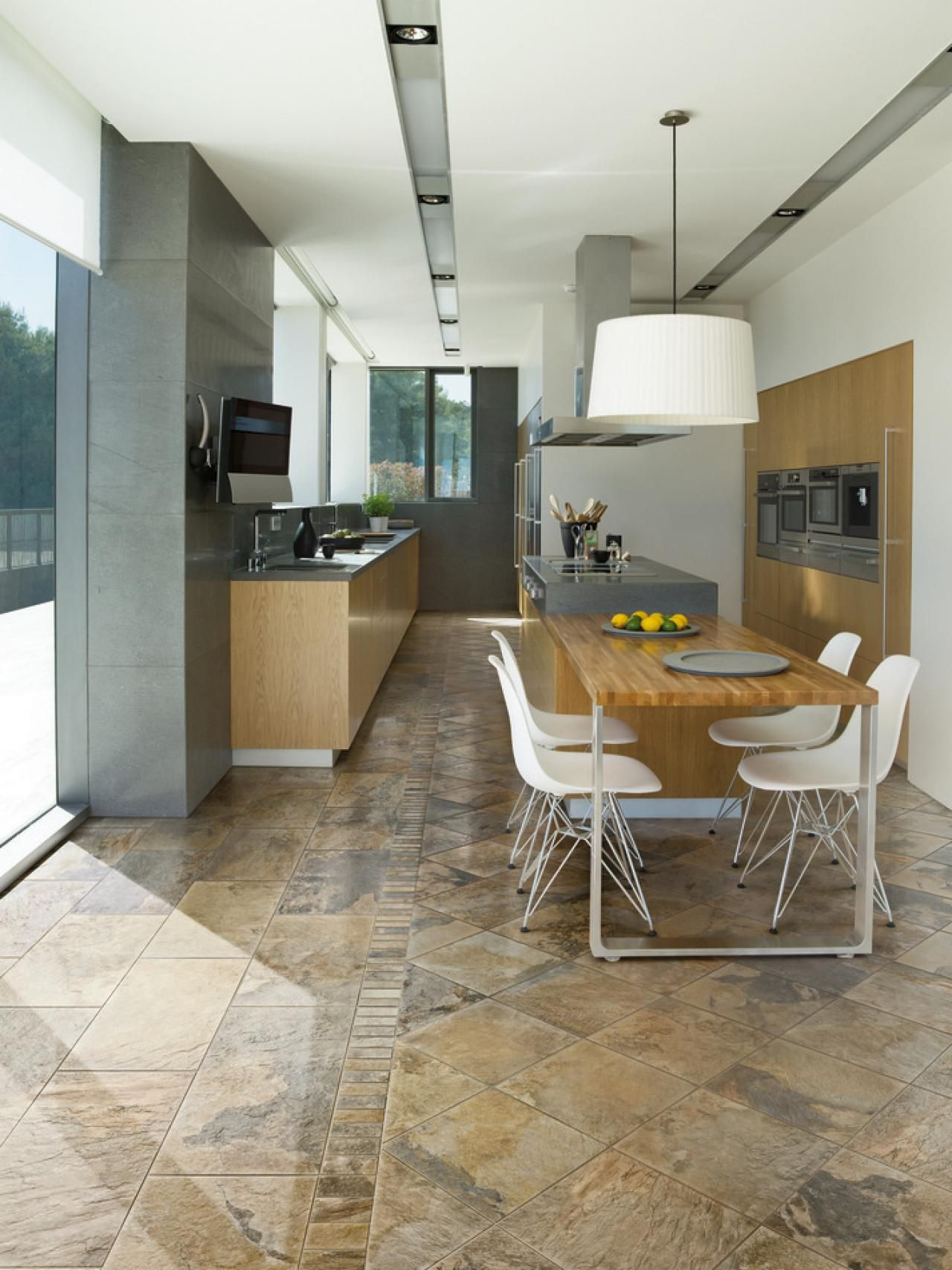 1. Natural Tones & 18 Beautiful Examples of Kitchen Floor Tile