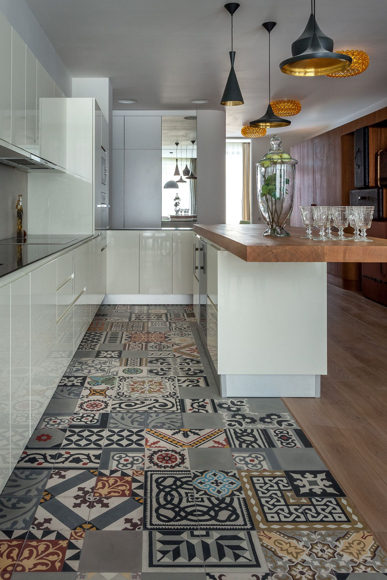 Patchwork kitchen floor
