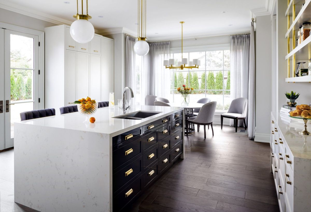 Kitchen white quartz countertop for a kitchen with gold accents