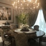 Luxury Baroque Round dining tabke with chandelier over