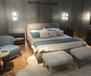 Mantellasi bed frame in grey with two large stools like bench