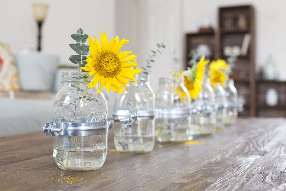 Mason jars DIY table tea party centerpiece