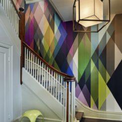Modern foyer geometric rainbow wallpaper