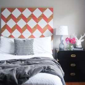 Modern geometric painted wood headboard
