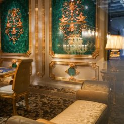 Opulent interior design with baroque style and gold accents