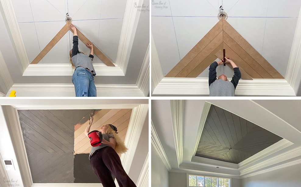 How To Chevron Plank Ceiling