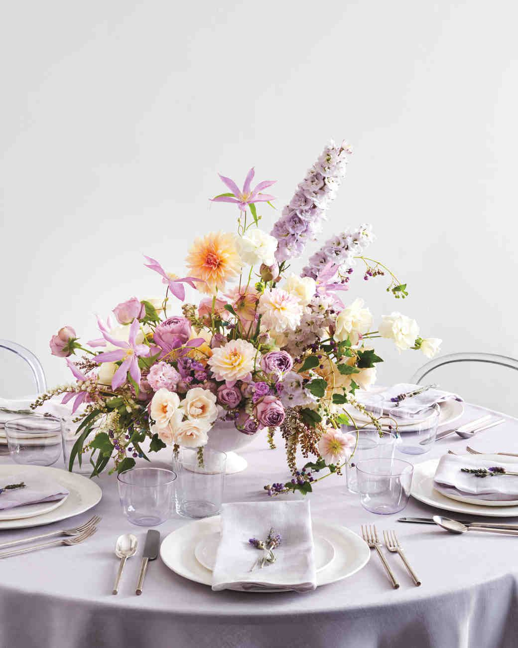 Purple Pale And Orange Table Centerpiece