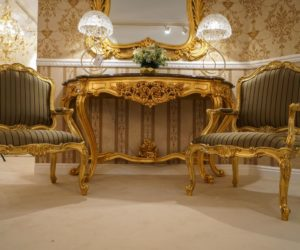 Rococo entryway console table and armchairs with gold leaf