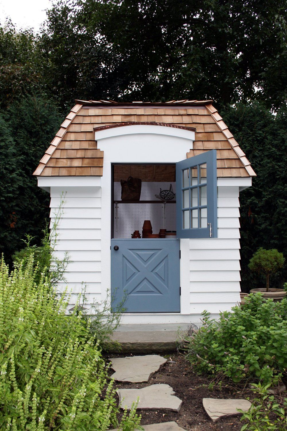 She shed blue dutch door