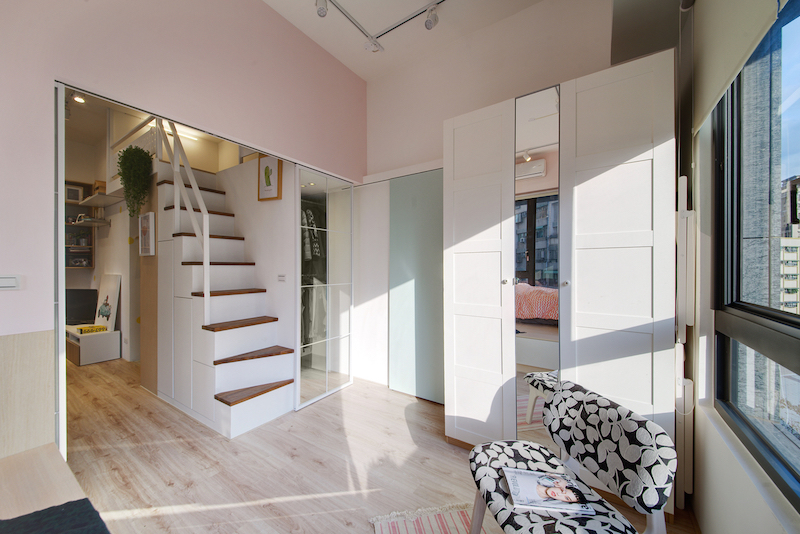 The staircase has built-in storage and offers access to a new loft bedroom