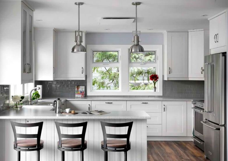 In the kitchen, gray subway tile backsplashes go well with stainless steel appliances