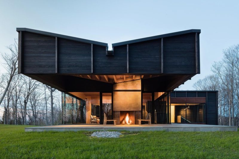 Three Volumes Meet Beneath A Butterflied Roof By Lake Michigan