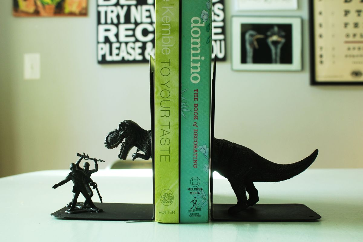 Turn kids toys into bookends