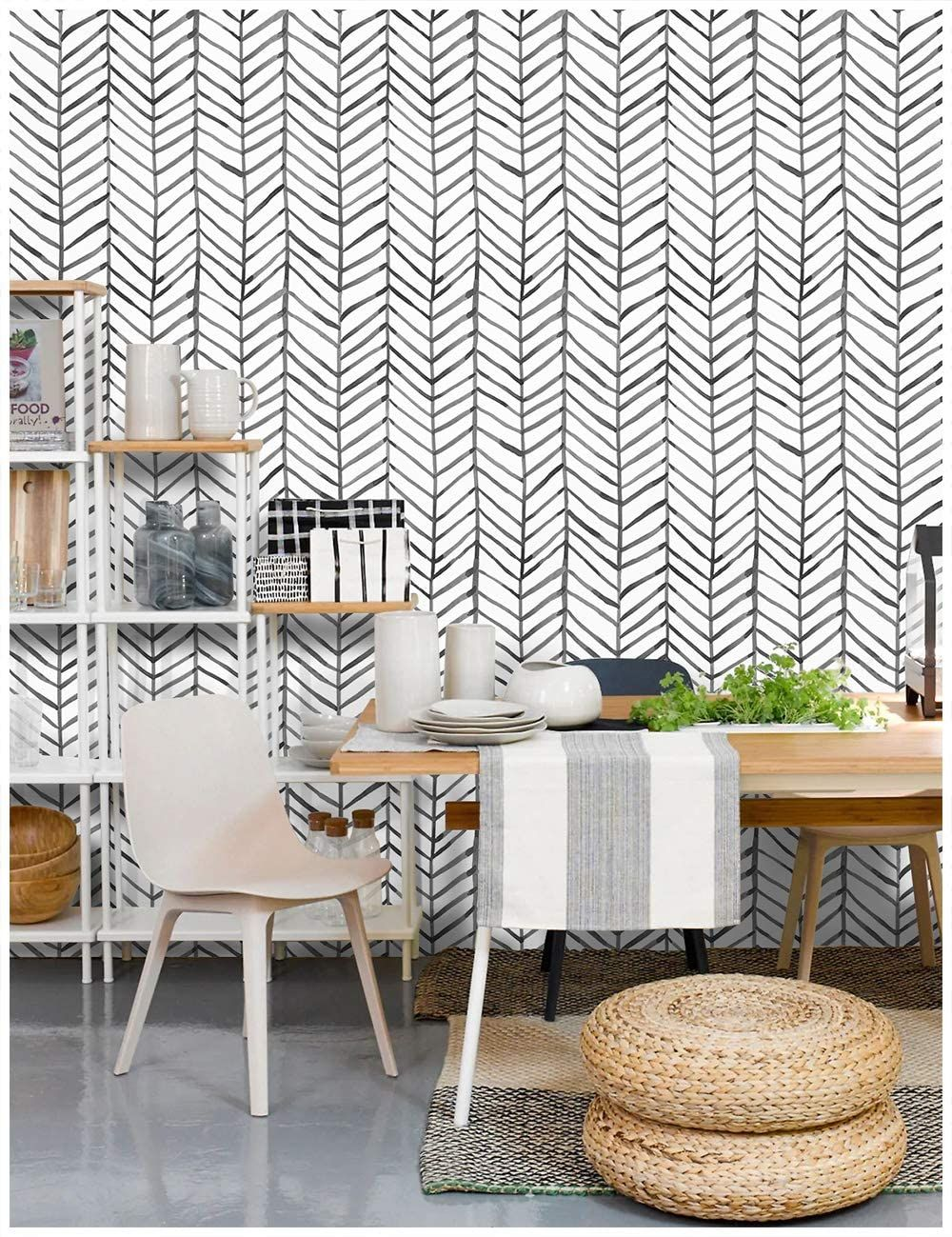 Wallpaper Herringbone Black White Vinyl