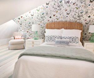 Wallpapered attic master bedroom reading nook