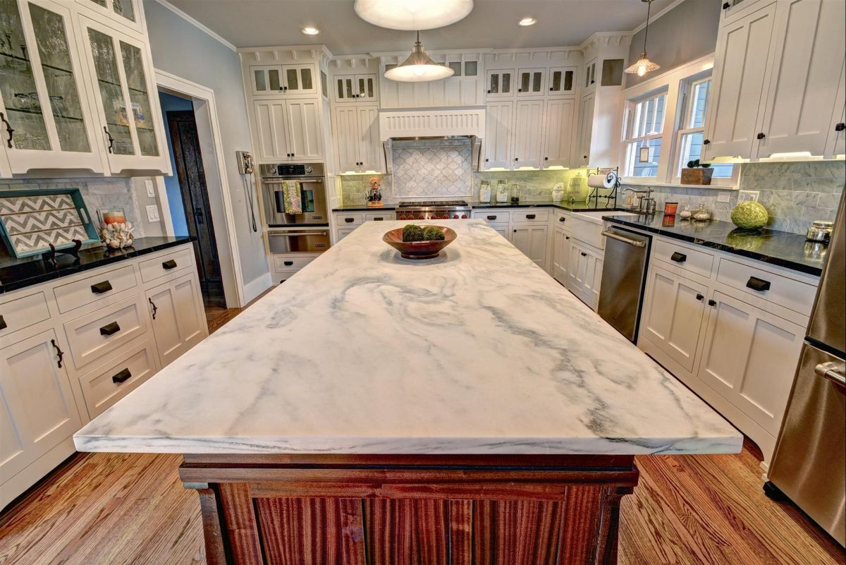 White Granite Kitchen Countertop Design