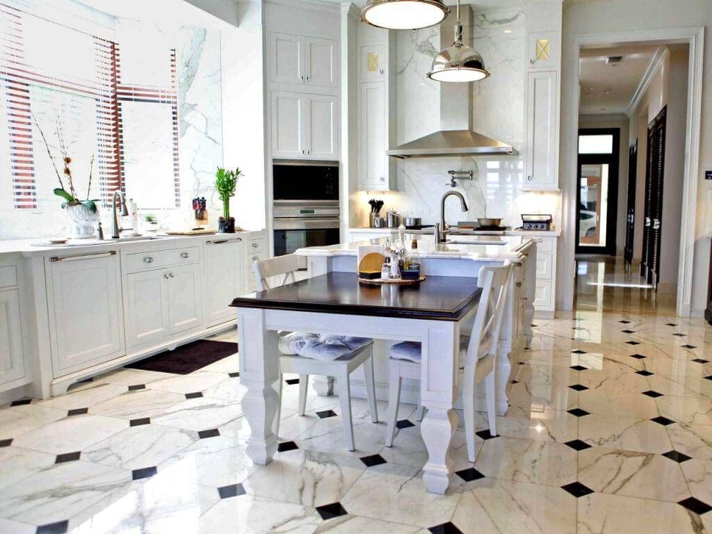 18 beautiful examples of kitchen floor tile 3 marble pattern dailygadgetfo Image collections