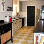 Yellow and cream kitchen tile cheese floor