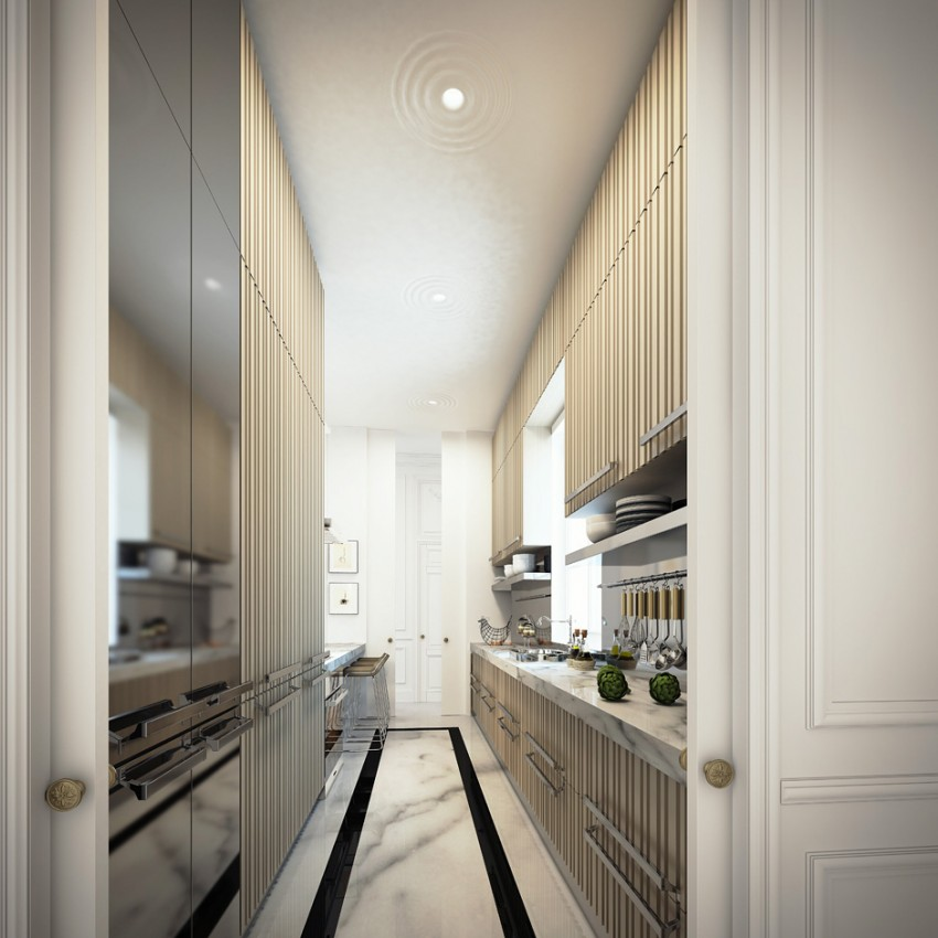 You can choose to emphasize the linear layout of the kitchen with stripes or with other design details
