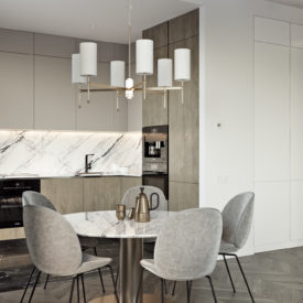 Apartment with a modern interior design and marble accents