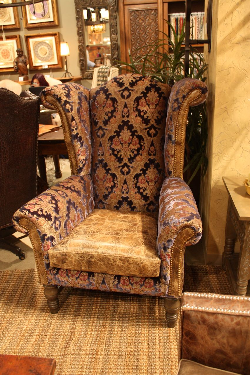 Bella Rustica's mixed upholstery wing chair is a classic shape.