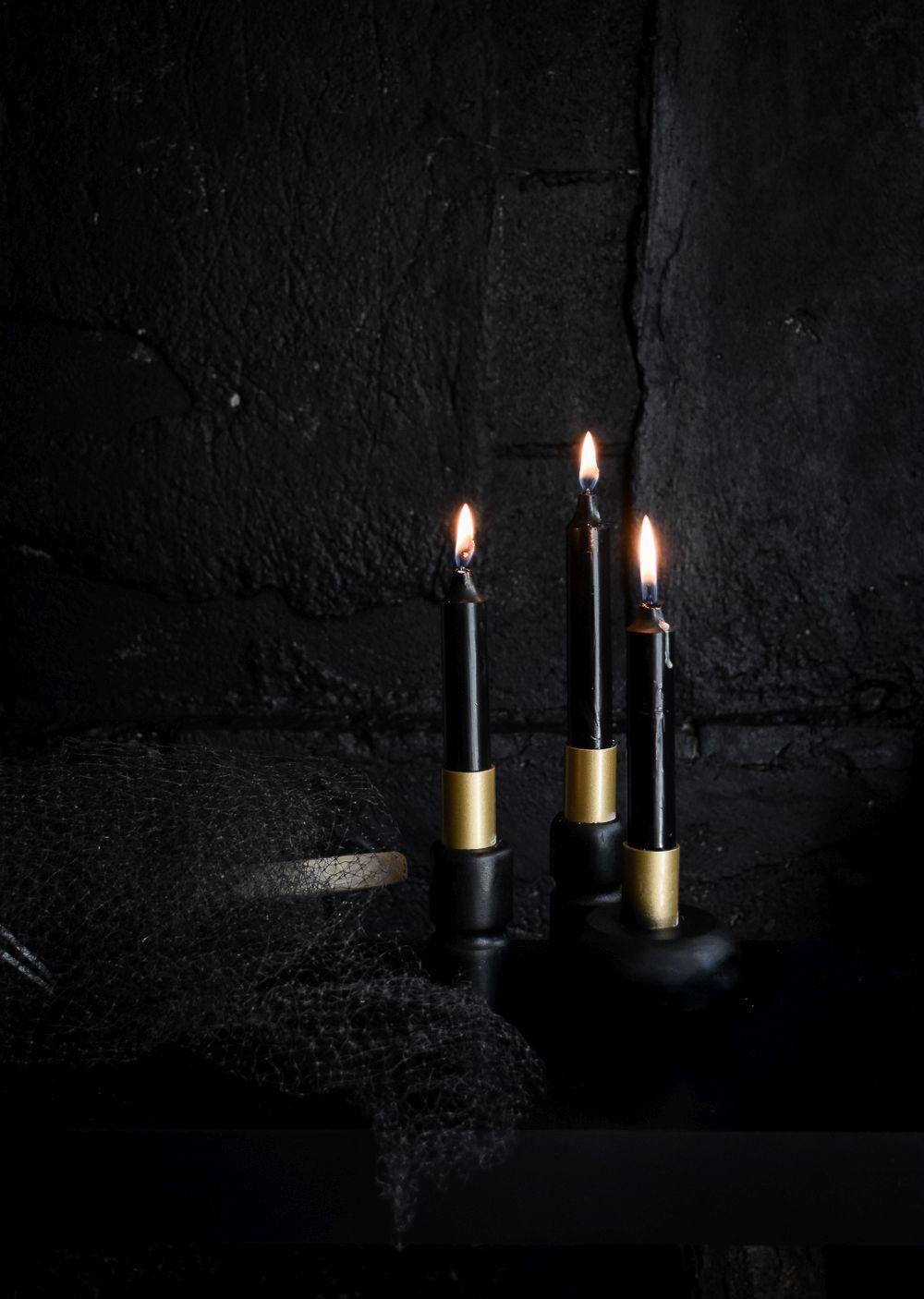 Black halloween candle holders