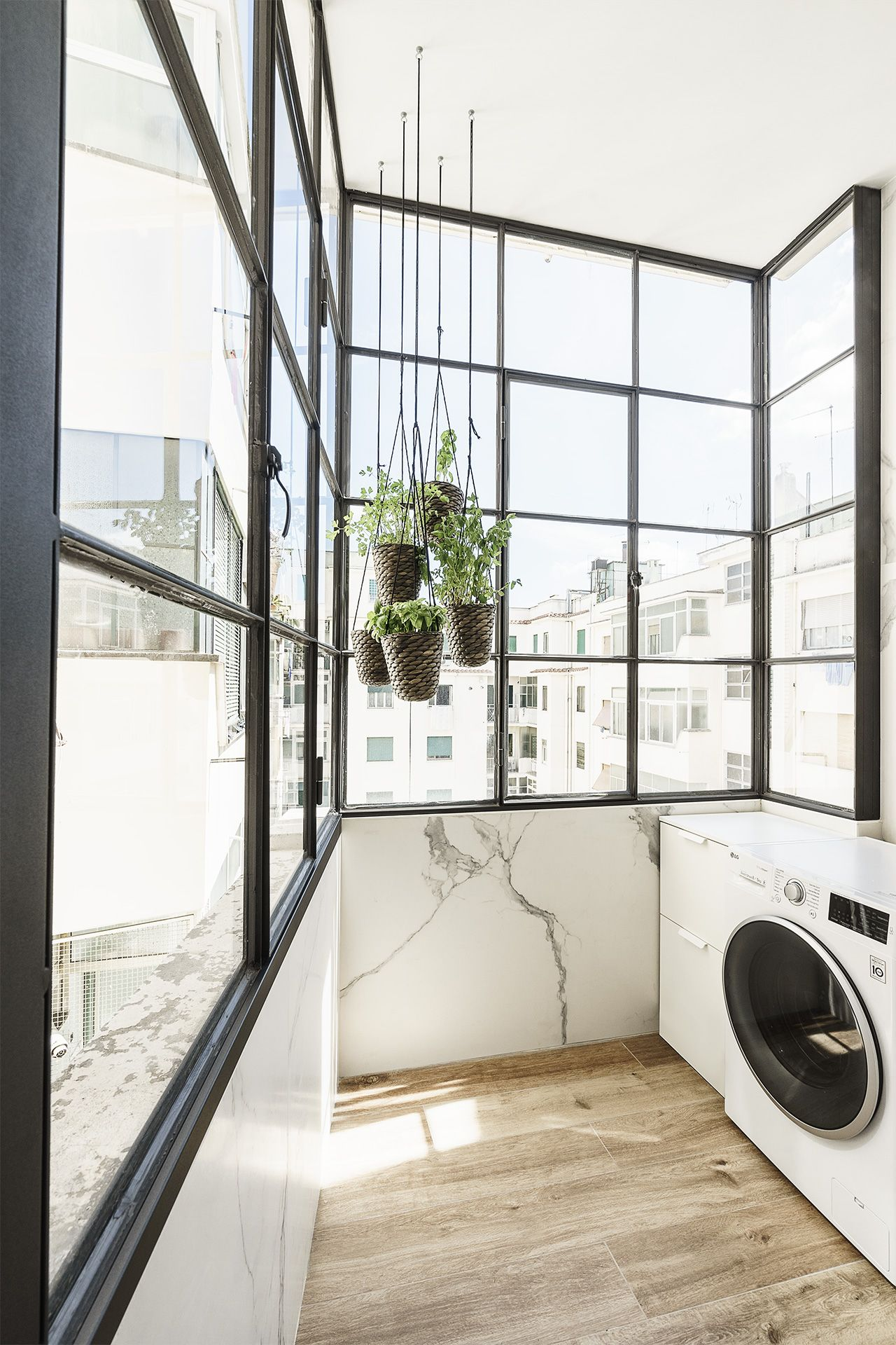 This lovely laundry room makes the task a delight.