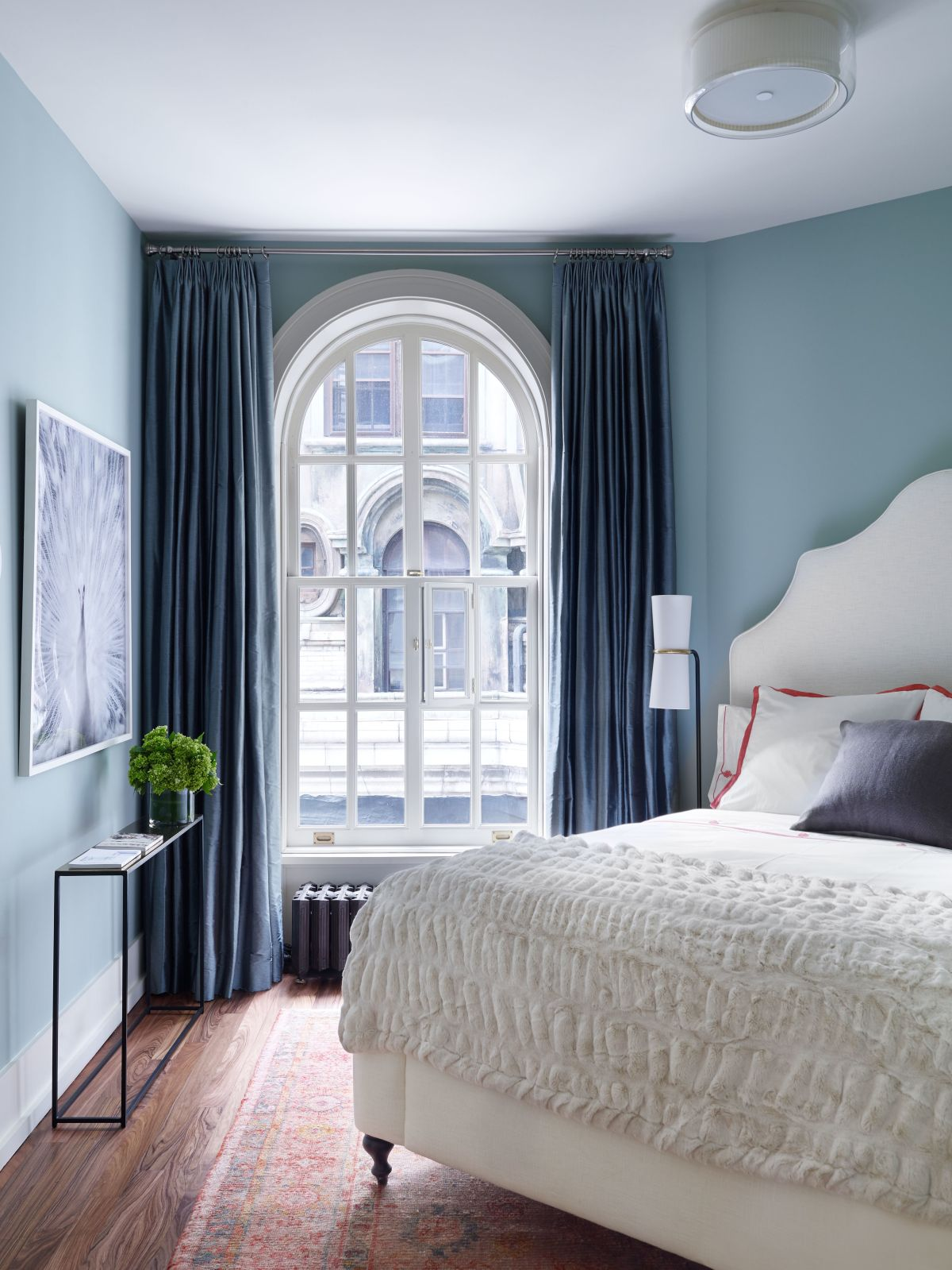 the four best paint colors for bedrooms 14517 | blue paint small bedroom and large curtains