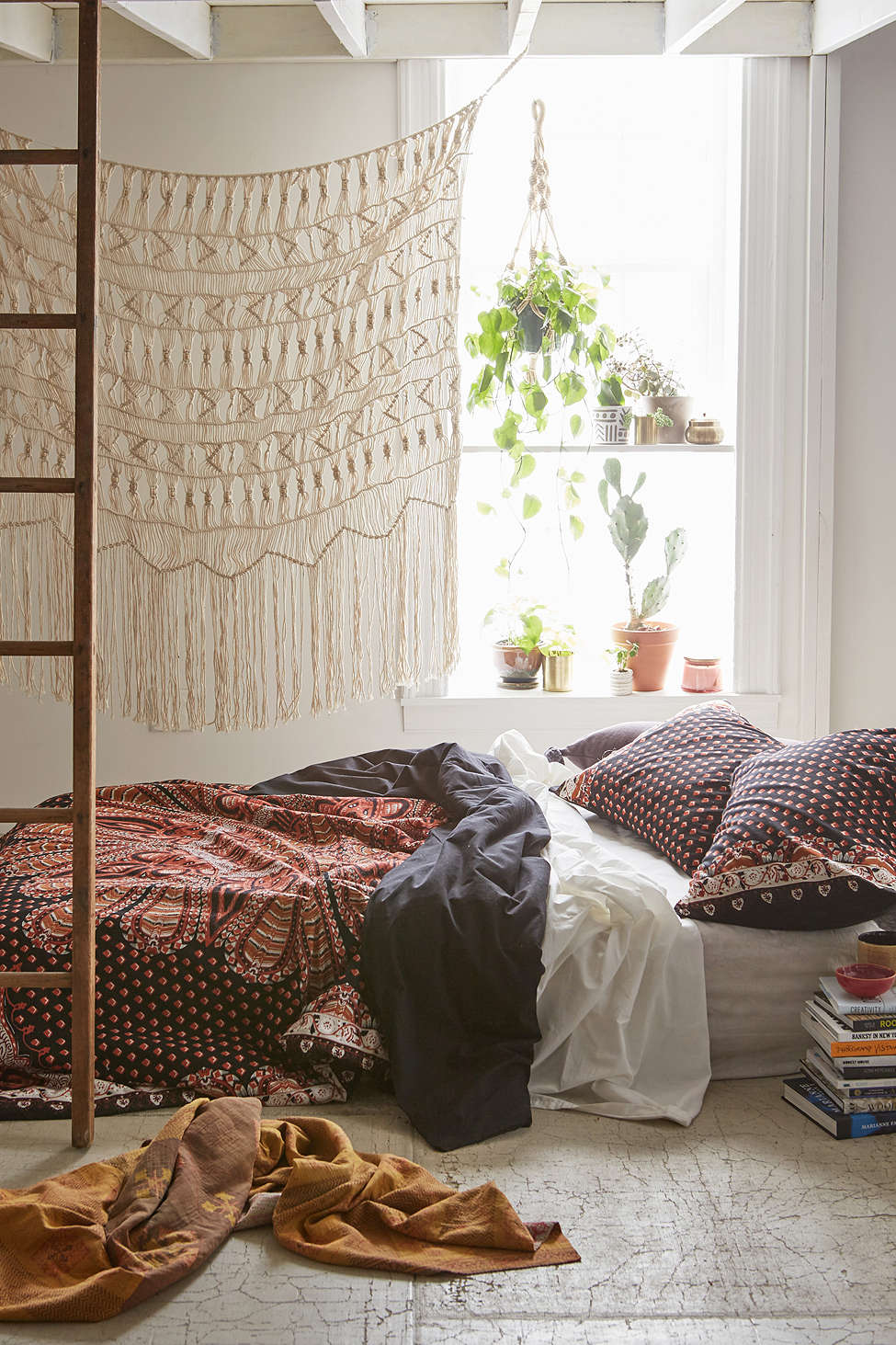 1  With Macrame Tapestry 40 Bohemian Bedrooms To Fashion Your Eclectic Tastes After